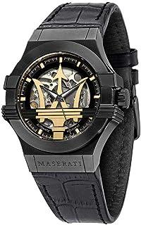ساعة MASERATI بوتنزا للرجال بسوار من الجلد - اسود، 13 كاجوال (R8821108036)