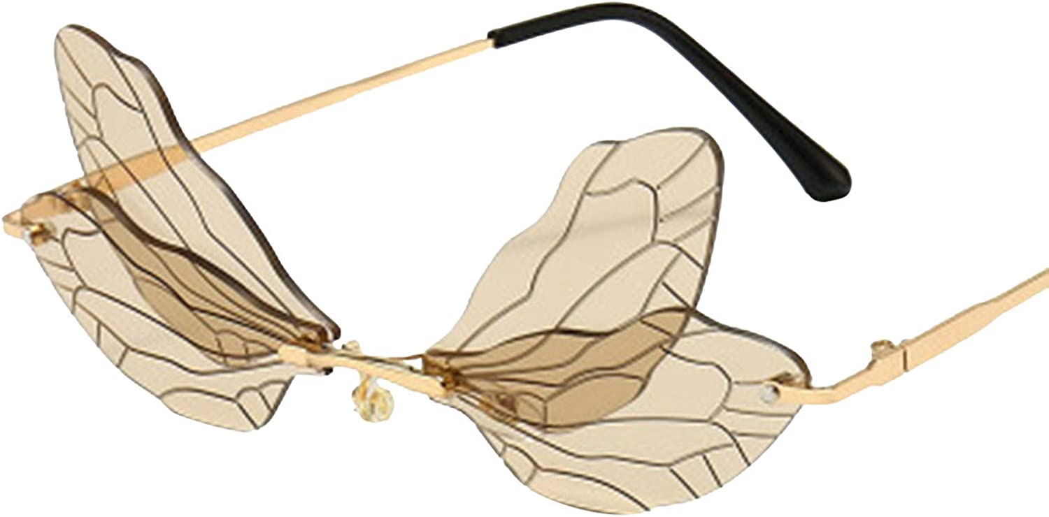 2020 Latest Fashion Sunglasses Butterfly Dragonfly Rimless Glasses Metal Frame Sunglasses UV400 Party Eyewear for Women Men