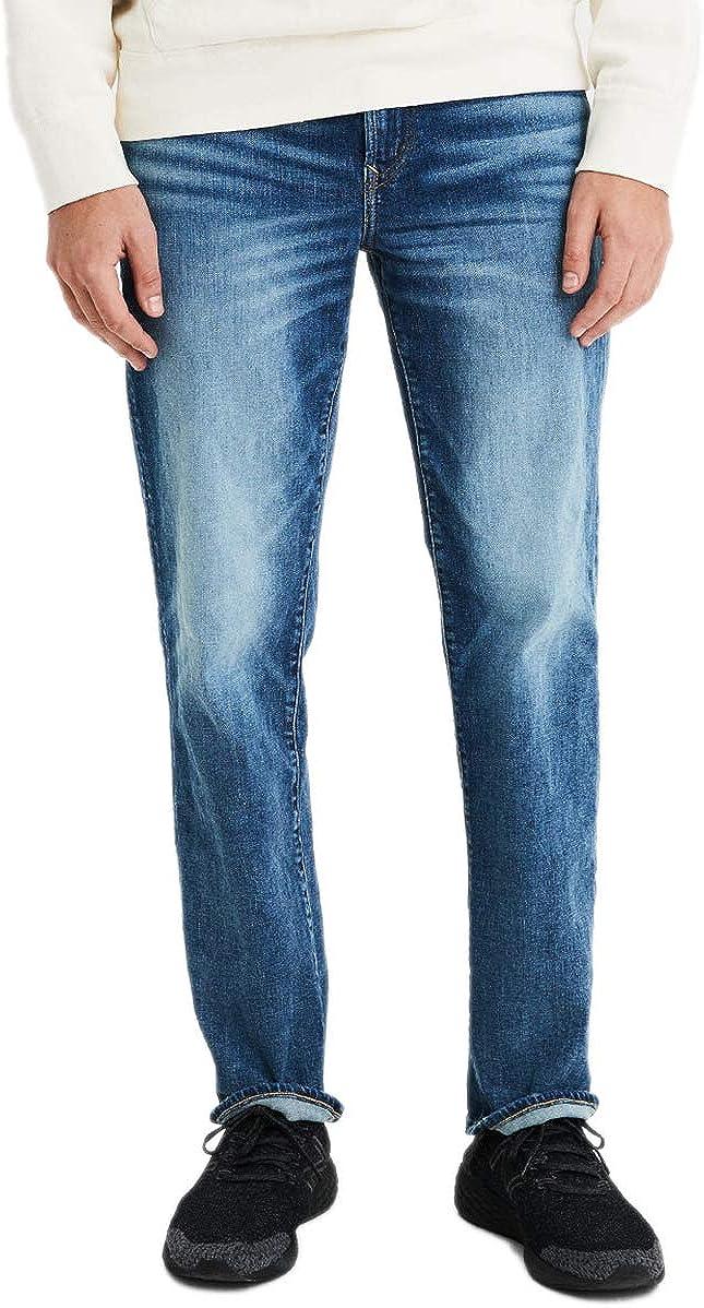 American Eagle Mens 4887857 Ne(x) t Level Original Straight Jean, Medium Bright Indigo