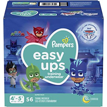 Pampers Easy Ups Training Pants Boys and Girls, Size 6 (4T-5T), 56 Count, Super Pack