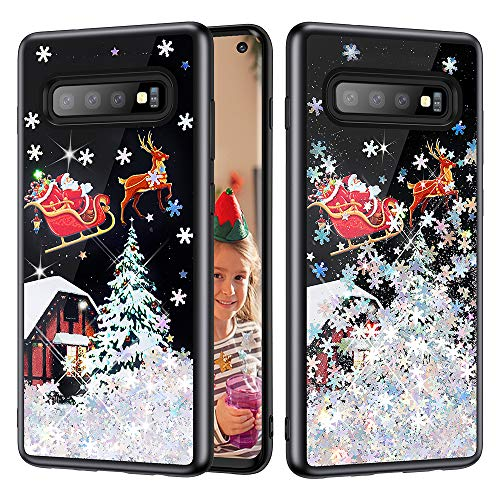 Caka Case for Galaxy S10 Glitter Case Christmas for Women Girls Girly Luxury Fashion Bling Flowing Liquid Floating Sparkle Snowflake Glitter Black TPU Case for Samsung Galaxy S10 (Black Silver)