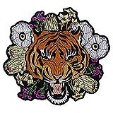 EMDOMO - Parche termoadhesivo bordado para ropa, grande, diseño de cabeza de tigre y flores, 1 pieza