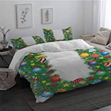 Microfiber Duvet Cover Letter U Candy Canes Mushrooms Angel Figure on Xmas Tree Seasonal Composition and Letter U Twin Size Sheet Set MulticolorX-Long Twin