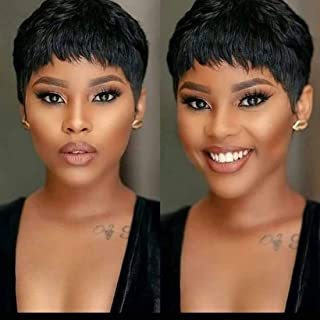 Yviann Short Black Human Hair Wigs Pixie Cut Wigs for Black Women Straight Brazilian Human Hair Wigs 1B Color - coolthings.us