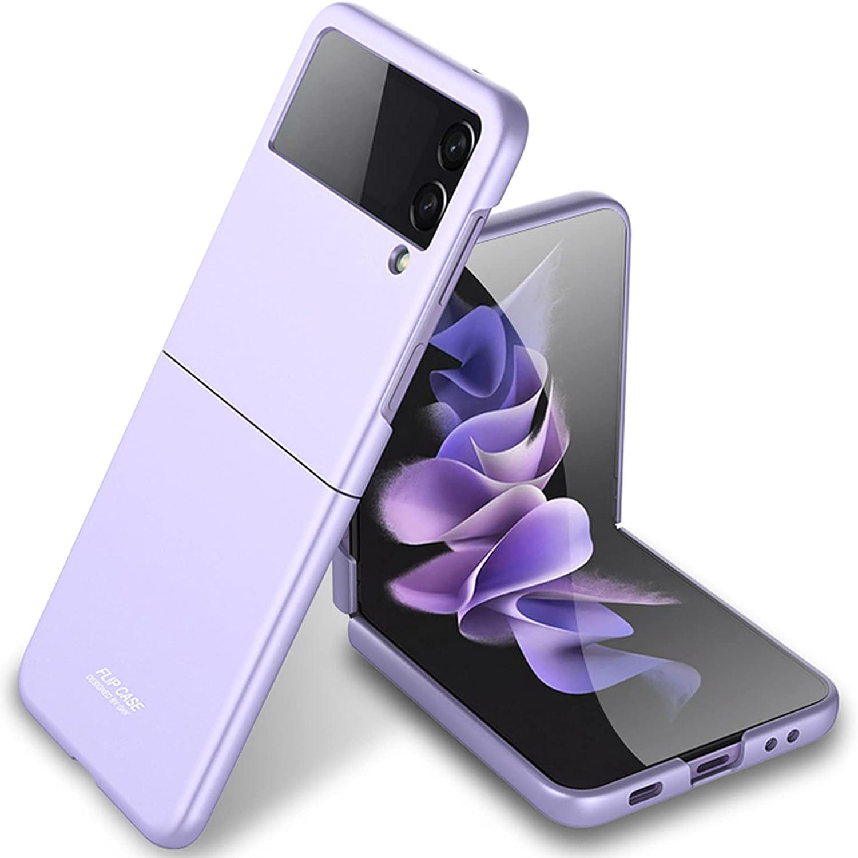Miimall Compatible with Samsung Galaxy Z Flip 3 2021 Case Cover, Galaxy Z Flip 3 Case Ultra-Thin Matte Finish Anti-Fingerprint Anti-Oil Bumper Case for Samsung Galaxy Z Flip 3 Flip 3 5G 2021(Purple)