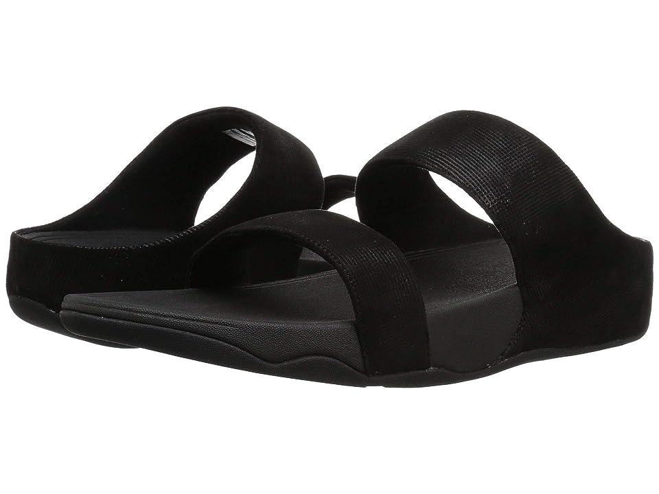 FitFlop Lulu Slide Sandals Shimmer-Check (Black) Women