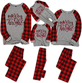 Matching Family Pajamas Sets Christmas PJs Lattice Long Sleeve Top+Striped Pants Loungewear