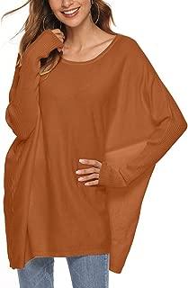 SALNIER Women Off Shoulder Sweater Loose Pullover Batwing Sleeve Knit Jumper Oversized Tunics Top