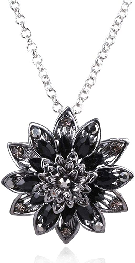 Moniku Spidergirl Black Dahlia Crystal Pendant Necklace Gift from Michel Jones Necklace Jewelry