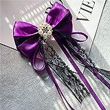 Meijin Broche vintage de perlas con lazo de encaje y lazo pa