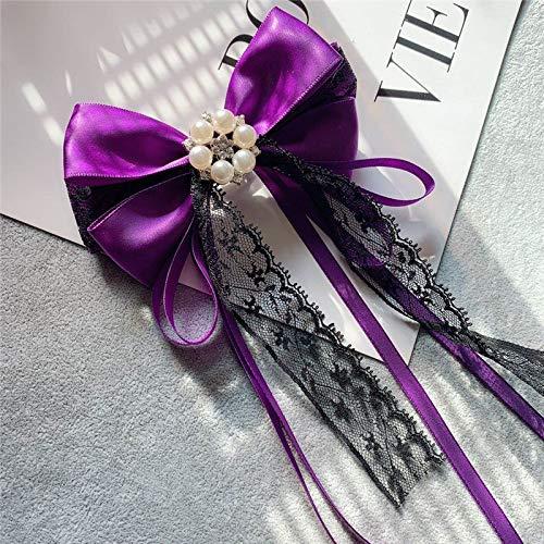 Meijin Broche vintage de perlas con lazo de encaje y lazo para el cuello, corbata, uniforme universitario, camisa, blusa, accesorios para mujer (color: 3)