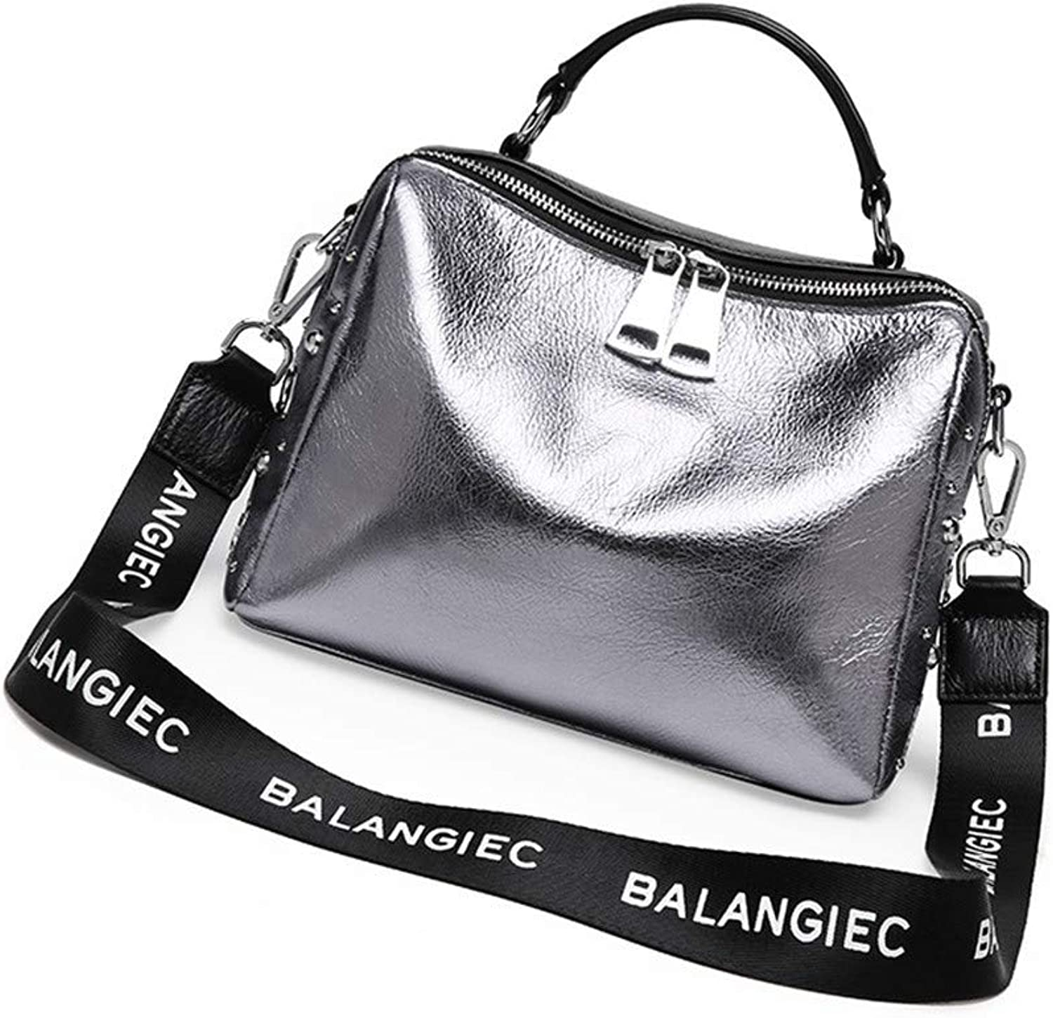 Sturdy Fashian Leather Handbags New Soft Leather Handbag Simple Shoulder Handbag Messenger Handbag Large Capacity (color   Silver)