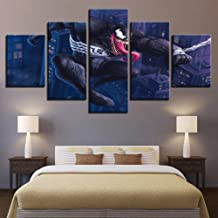 JCILZX HD Printed Modular Pictures 5 Panel New Hot Movie Venom Canvas Painting Poster for Background Home Decorative Wall Art Framework