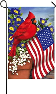 """Small Mim American Pride Red Cardinals Purple Morning Glory Garden Flag Holiday Decoration Double Sided Flag 12.5"""" x 18"""""""