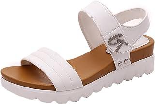Sandalias de Verano de Mujer Sandalias de Moda Plana Envejecida Zapatos cómodos de señoras Zapatillas Planos Casual de Playa niña Sandalias de Vestir Mujeres Calzado Zapatos al Aire Libre
