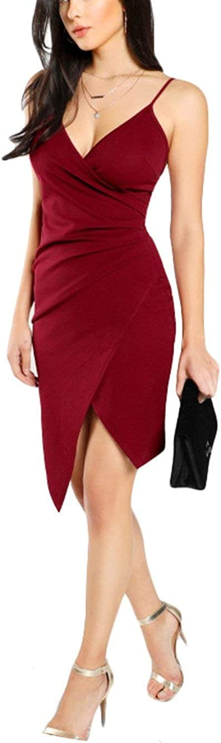 Brave pinkmary Ruched Overlap Form Fitting Dress Burgundy Spaghetti Strap Sleeveless Slip Asymmetrical Party Dress with Zip