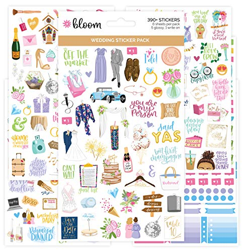 bloom daily planners New Engagement/Wedding Planning Stickers Variety Pack - 6 Sheets, 390+ Hand-Dawn Illustrations and Phrases Per Pack