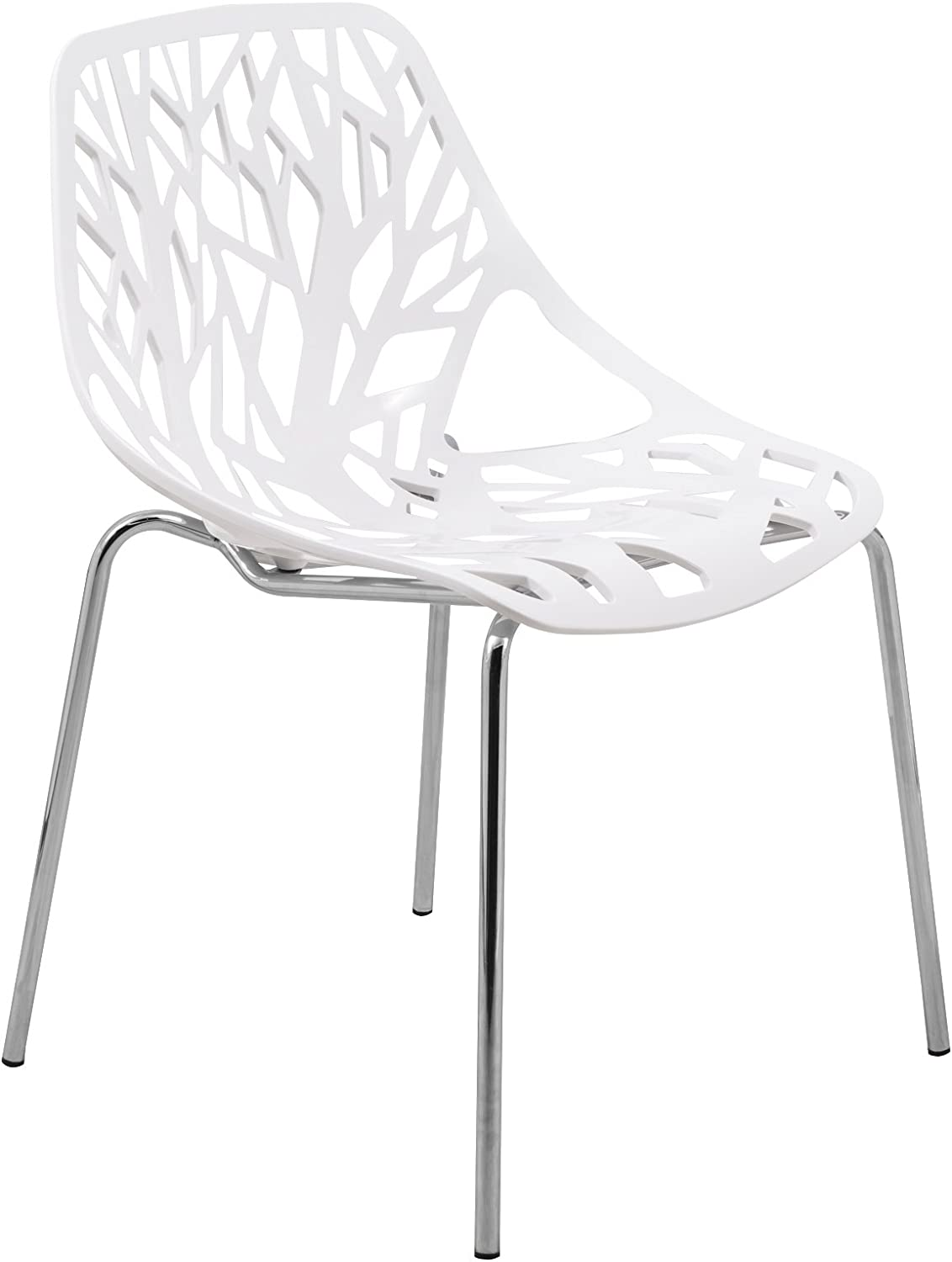 LeisureMod VCAC16W Asbury Dining Chair White