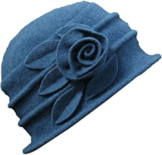 Ealafee Women 100% Wool Solid Color Round Top Cloche Beret Cap Flower Fedora Hat