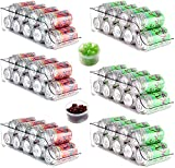 Cadriy Set Of 8 Fridge Organizer Bins, Soda Can Organizer for Refrigerator, Freezer, Pantry, Kitchen, Countertop, Cabinets - Clear Plastic Drink & Canned Food Dispenser