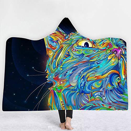 YJZ Couverture à Capuchon Cape imprimée 3D Cosmic Planet Double Couche Couche Chaude Peluche TV Couverture Sherpa Femmes et Fille, Cadeau Chaleureux ami de la Famille, Personnalisable,B,130 * 150cm