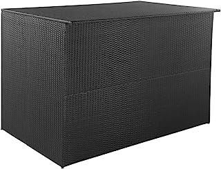 vidaXL Outdoor Storage Box Poly Rattan 150x100x100cm Black Container Chest