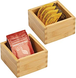 mDesign Bamboo Kitchen Cabinet Drawer Organizer Tray Bin - Eco-Friendly, Multipurpose - Use in Drawers, on Countertops, Shelves or in Pantry - 4
