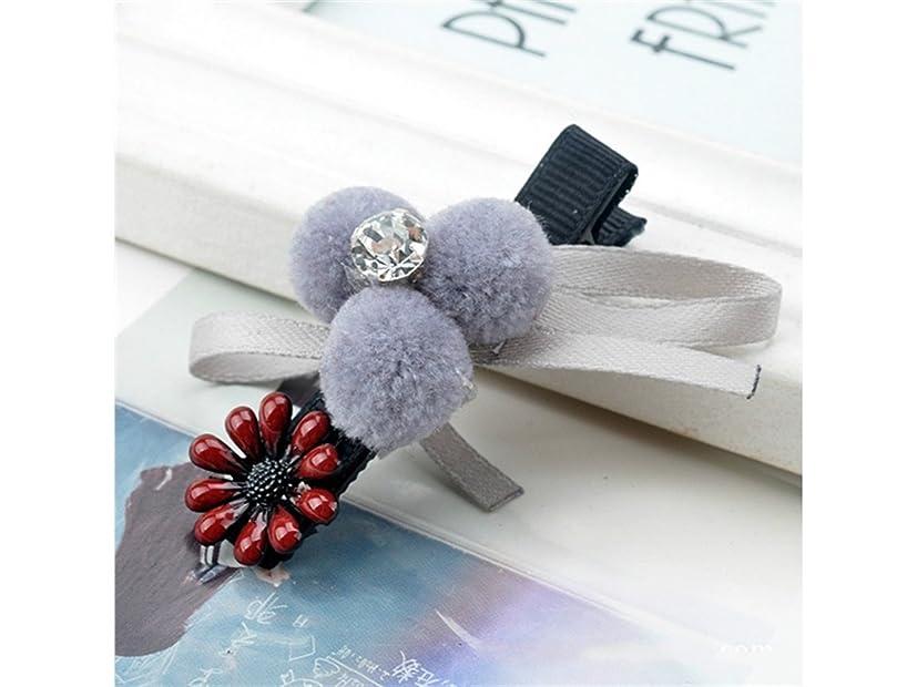 寄付するバイオレットマーティフィールディングOsize 美しいスタイル ヘアボールヘアクリップボウヘアアクセサリーヘアスタイリングツールダックビルクリップ(グレー)