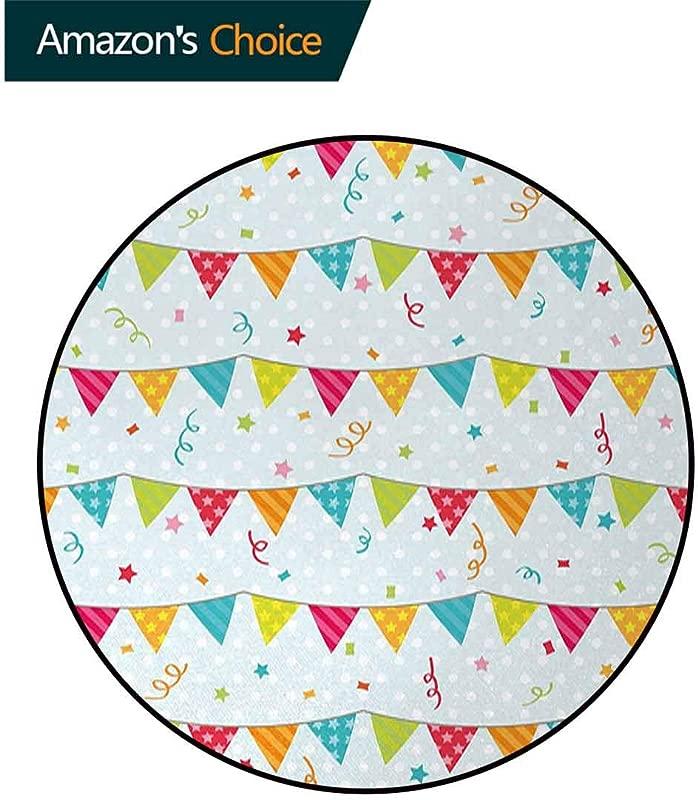 Birthday Modern Machine Round Bath Mat Colorful Pretty Triangular Party Flags On The Ropes Swirls And Stars Kids Design Non Slip No Shedding Kitchen Soft Floor Mat Diameter 47 Inch Multicolor