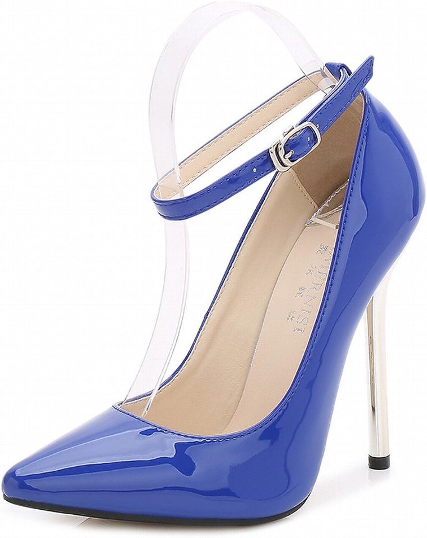 SAMSAY Women's Ankle Strap Slender High Heels Dress shoes Stiletto Pumps