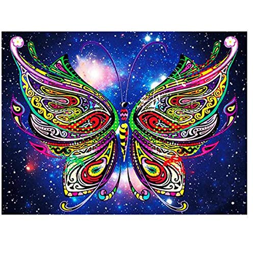 DUQA Diamond Painting DIY full 5D Drill Cross Stitch Kits 3d Multicolored butterfly Rhinestone Of Picture diamond Embroidery-Round Drill 40X50cm