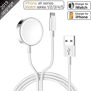 Wireless Charger for Apple 2 in 1 Watch Charger & Phone 5ft/1.5m Charging Cable Compatible with for Apple Watch Series 5/4/3/2/1 & iPhone 11/XR/XS/XSMax/X/8/8Plus/iPad4/Air/Mini iWatch Charger