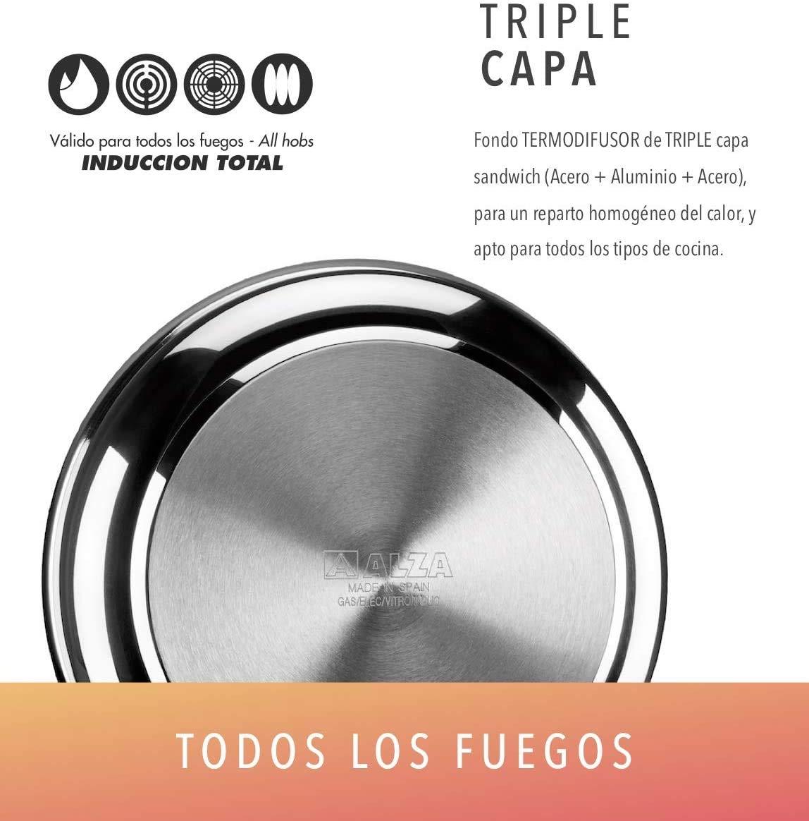 PAELLERA ALZA CLASSIC MASTER. PAELLERA fabricada en acero inoxidable 18/10, antiadherente triple capa, apta para todo tipo de cocina, INDUCCIÓN. Fácil Limpieza. Apto para lavavajillas. 28cm: Amazon.es: Hogar