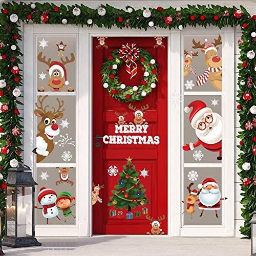 CMTOP 12 Blatt Weihnachten Aufkleber Fenster Weihnachtsbaum Weihnachtsmann Elch Schneemann Abnehmbare Weihnachten Deko Wandtattoo Weihnachten Statisch Haftende PVC Aufkleber