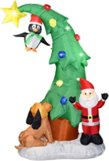 Dreamone 7 Foot Christmas Inflatables Christmas Tree and Santa Claus with Flashing Lights for Christmas Decorations Indoor Outdoor Yard Garden Party Decorations