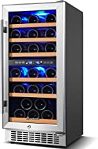 【Upgraded】Wine Cooler Dual Zone,Aobosi 15 inch 30 Bottle Wine refrigerator Built-in or Freestanding with Fashion Look,Quic...