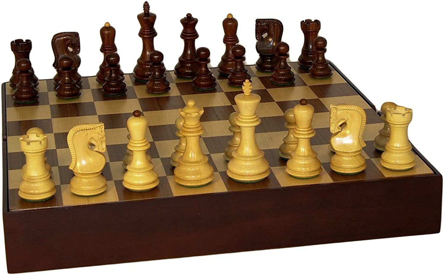 Sheesham Old Russian Chess Set With Walnut Chest