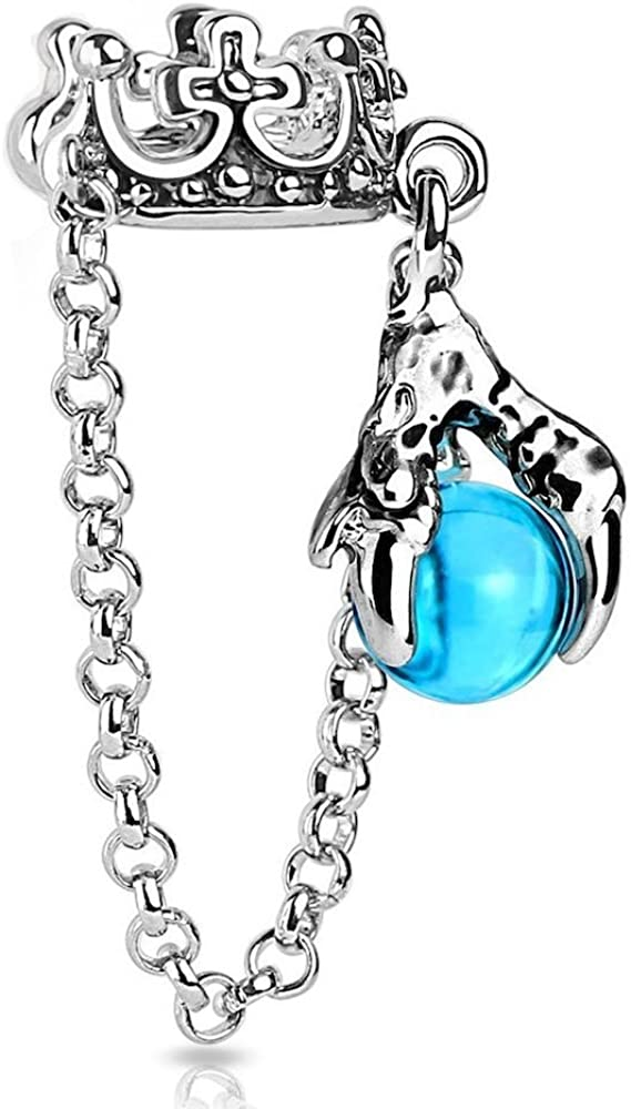 Covet Jewelry Crown with Chain and Dragon Ball Dangle Non-Piercing Ear Cuff