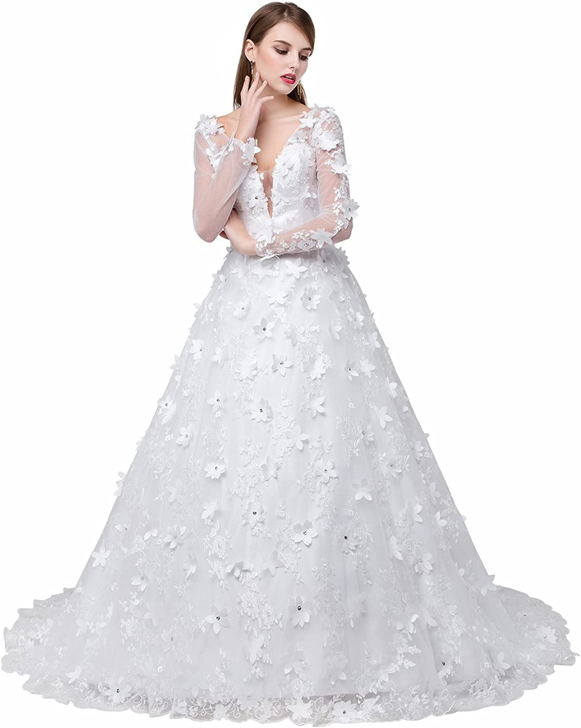 Cdress Women's Flowers VNeck Tulle Widding Dresses Lace Long Bridal Gowns for Bride