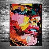 Pintura abstracta de la lona de la cara de la muchacha Arte contemporáneo de la acuarela Lienzo Graffiti Art Posters e impresiones Cuadros de la pared Decoración del hogar regalos para mujeres