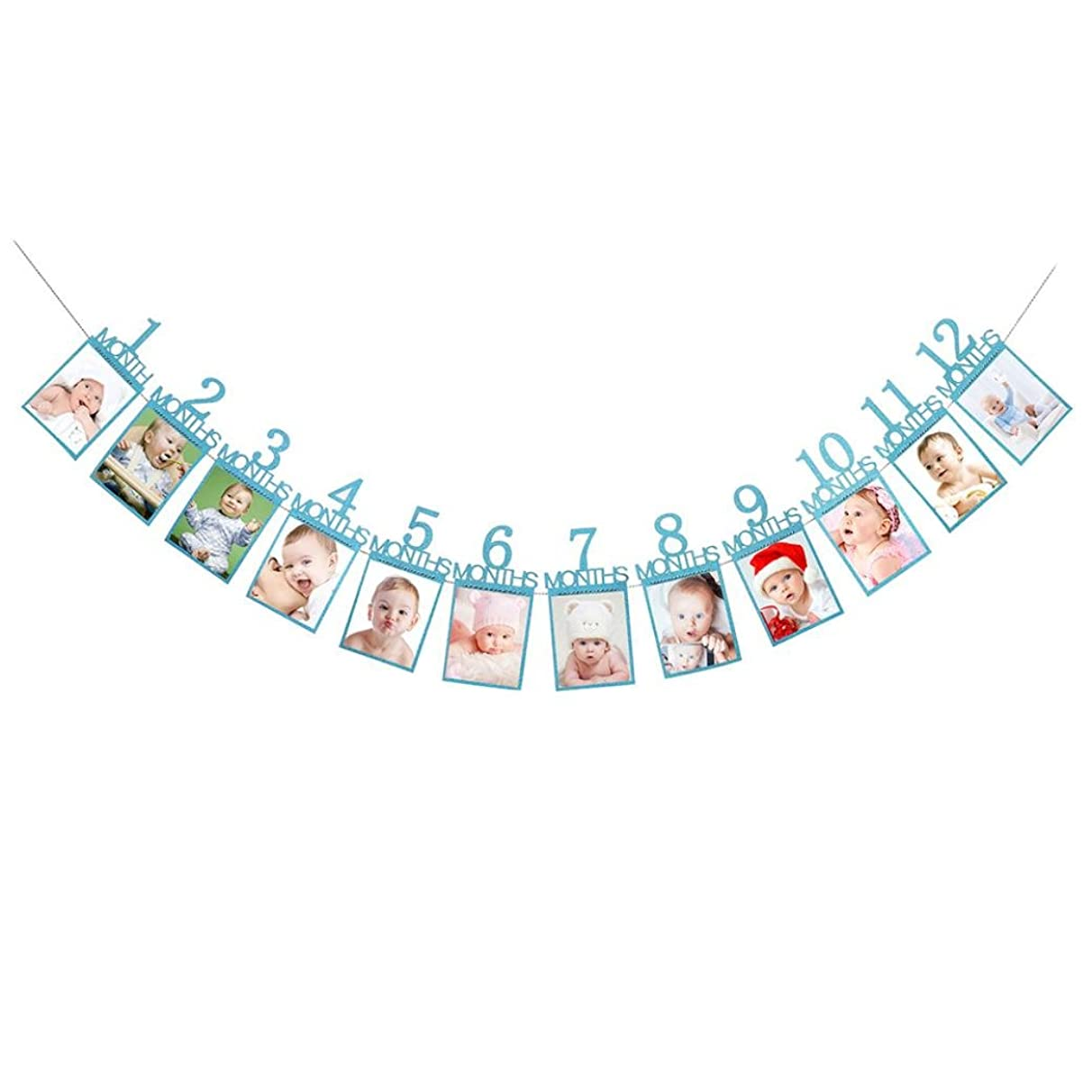 Coohole 1-12 Month Photo Banner Monthly Photo Wall Kids Birthday Gift Decorations