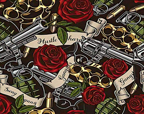 Trikptey Horror Skull Paint by Numbers Revolvers Roses and Ribbons Skull Revolver Gangster Tattoo DIY Canvas Acrylic Oil Painting by Numbers for Adults Kids Home Wall Without Frame 16'x20'