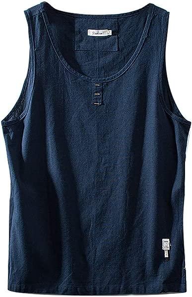 ZOMUSAR Men S Cotton Linen Solid Color Sleeveless Retro Vest Tops Blouse Mens Tank Tops