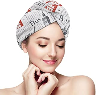 Uk And London Theme Microfiber Dry Hair Cap, Fast Drying Hair Towel with Button Wrap Turban For Women Girls