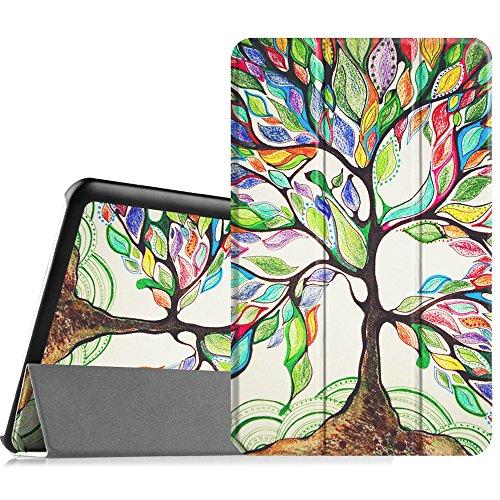Fintie Samsung Galaxy Tab E 9.6 Hülle Case - Ultra Schlank Superleicht Ständer SlimShell Cover Schutzhülle Etui Tasche für Samsung Galaxy Tab E T560N / T561N 24,3 cm (9,6 Zoll) Tablet-PC, Liebesbaum