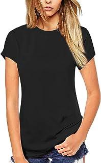 Beluring Women's Summer Crew Neck Long T-Shirts Blouses Plain Short Sleeve Tops