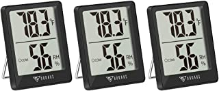 DOQAUS Thermometer Indoor [3 Pack], Mini Digital Hygrometer Indoor Thermometer, Humidity Meters, Accurate Temperature Humidity Monitor Gauge for House, Office, Greenhouse, Home Black (2.3X1.8inch)