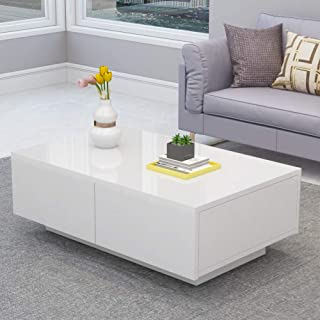 High Gloss Coffee Table, Modern White Rectangle Cocktail Table Sofa Table with 4 Drawers for Office, Livingroom