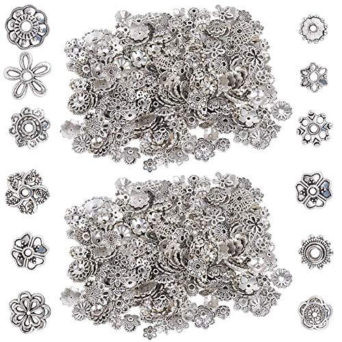 Perline in argento tibetano, BETOY 2 confezioni Perline distanziali Accessori per ciondoli in argento tibetano Perline distanziali in metallo tibetano, per braccialetti fai da te Collane Orecchini