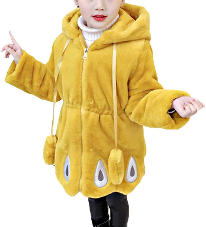 winying Kids Girls Winter Outfit Lovely Hooded Fur Jacket Warm Cotton Fleece Thick Coat Zipper Closure Outwear